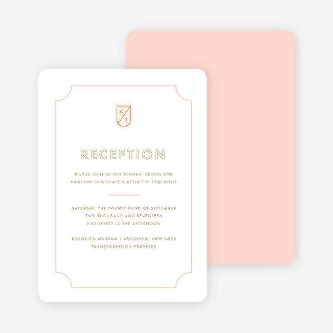 Tomorrow's Crest Wedding Reception Cards - Pink