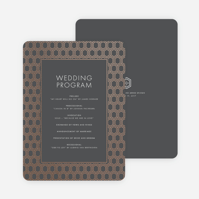 Hexagon Bliss Wedding Programs - Gray
