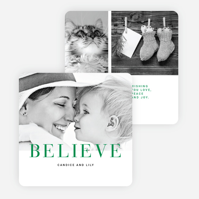 Believe Holiday Cards - Green