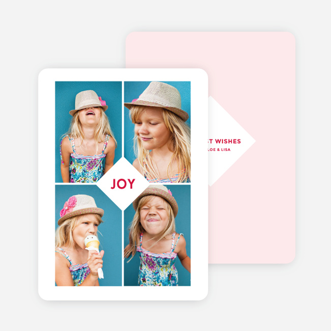 Centered Joy Holiday Cards - Pink
