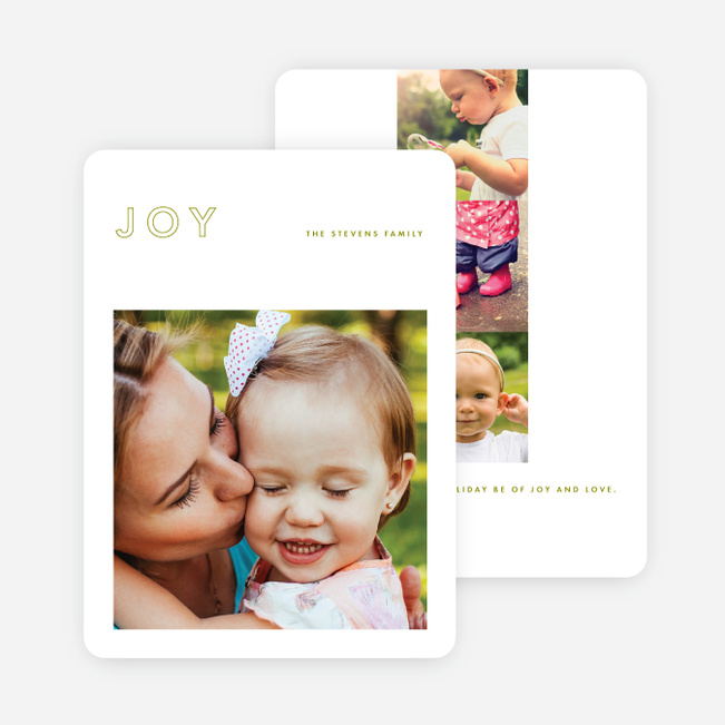 Outline Joy Holiday Cards - Green