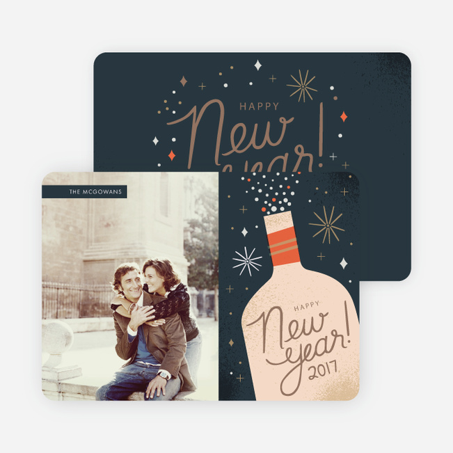 Pop the Champagne New Year's Photo Cards - Blue