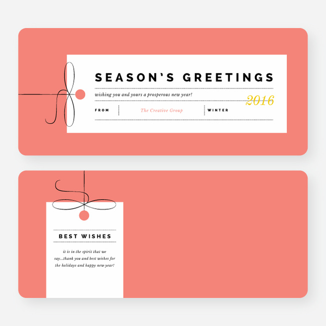 Seasons Greeting Corporate Holiday Cards - Yellow