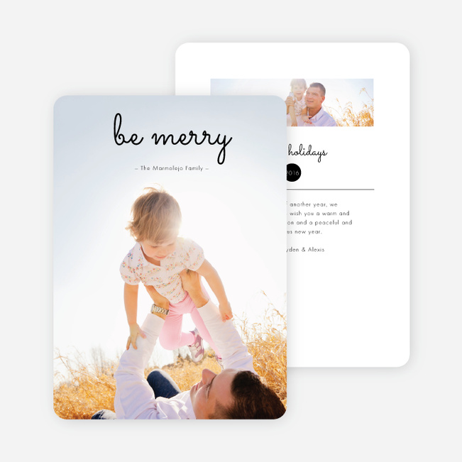 Be Merry Multi Photo Holiday Cards - Black