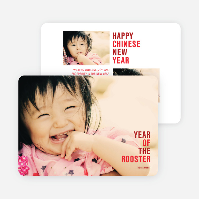 Year of the Rooster Lunar New Year Cards - Red