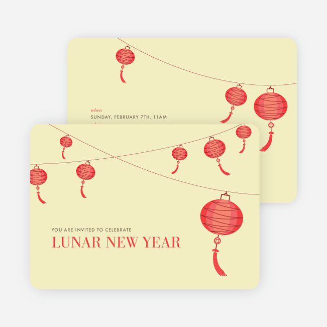Raise the Red Lantern Chinese New Year Invitations - Yellow