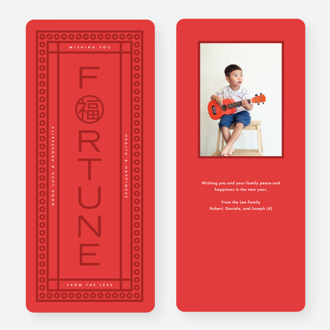 Good Fortune Lunar New Year Cards - Red