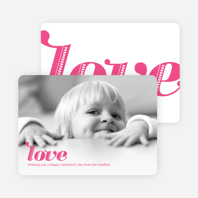 simply love valentines day photo cards fuschia - Photo Valentine Cards