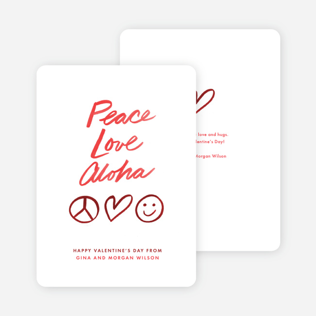 Aloha Valentine's Day Cards - Red