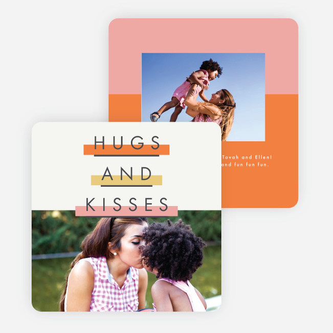 Colorful Stripes Valentine's Cards - Orange