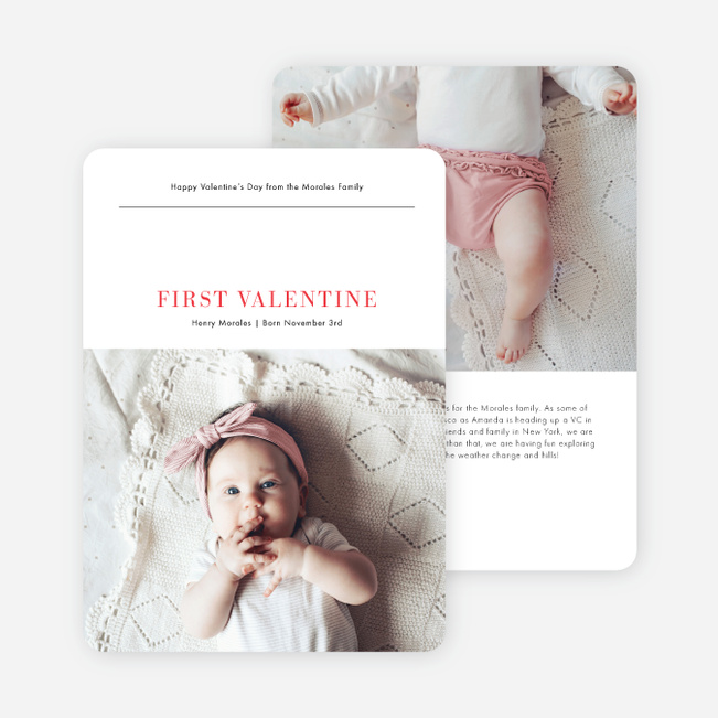 First Valentine Chic Valentine's Day Cards - Red