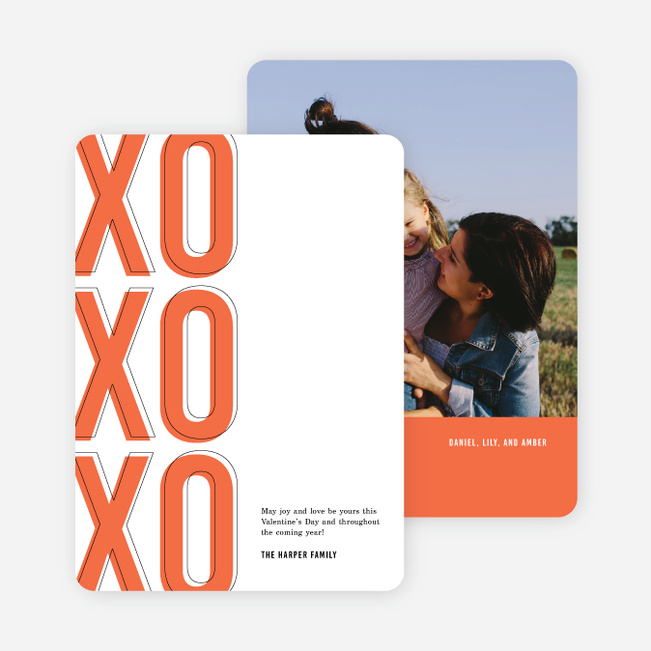 XO XO XO Valentine's Cards - Red