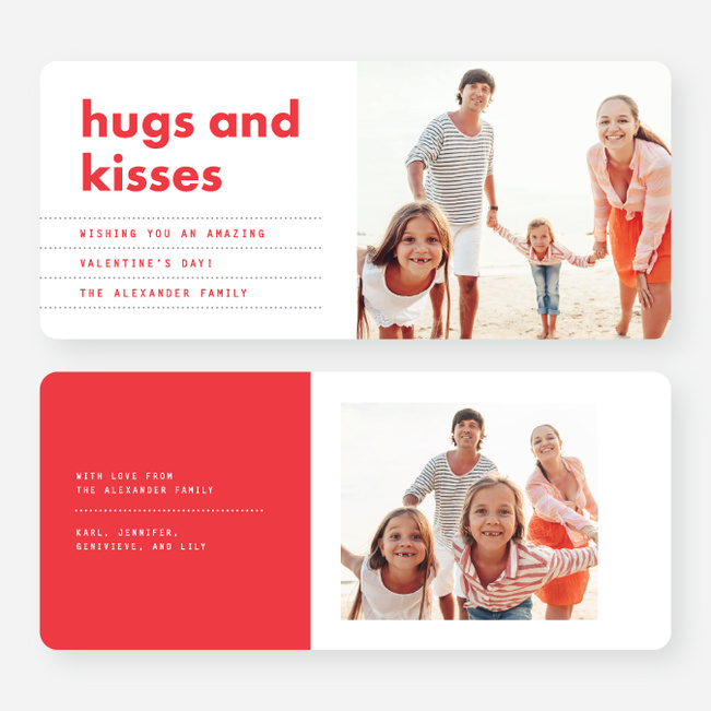 Hugs and Kisses Valentine's Day Cards - Red