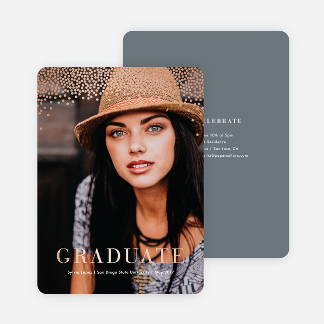Confetti Time Foil Graduation Announcements - Gray