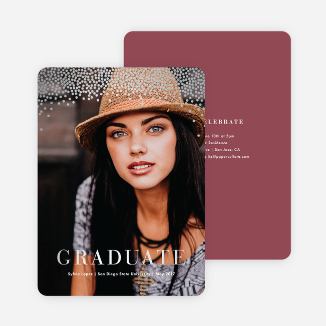 Confetti Time Foil Graduation Announcements - Red