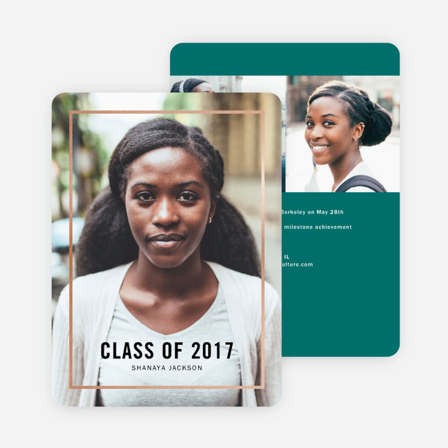 Foil Border Elegance Graduation Invitations - Green