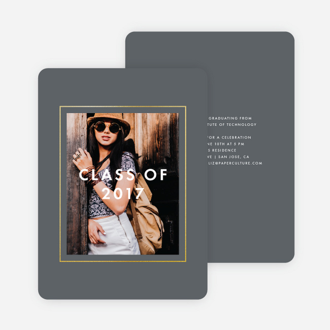 Foil Border Frame Graduation Invitations - Gray