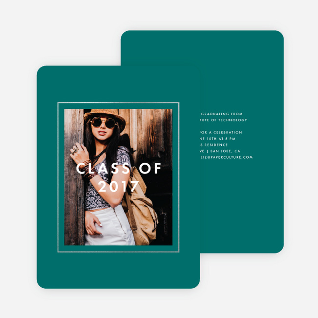 Foil Border Frame Graduation Invitations - Green