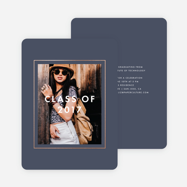 Foil Border Frame Graduation Invitations - Blue