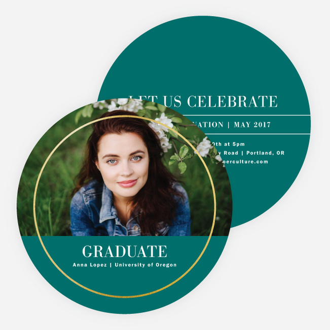 Foil Full Circle Graduation Invitations - Green