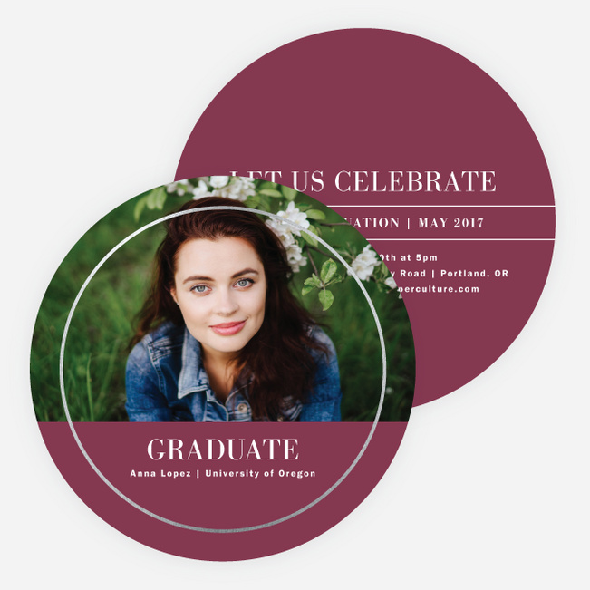Foil Full Circle Graduation Invitations - Red