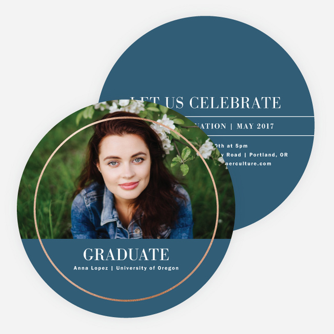 Foil Full Circle Graduation Invitations - Blue