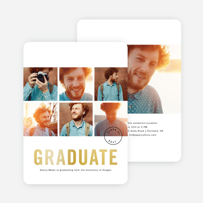 Foil Square Photos Graduation Announcements - Yellow