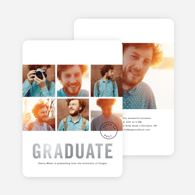 Foil Square Photos Graduation Announcements - Gray