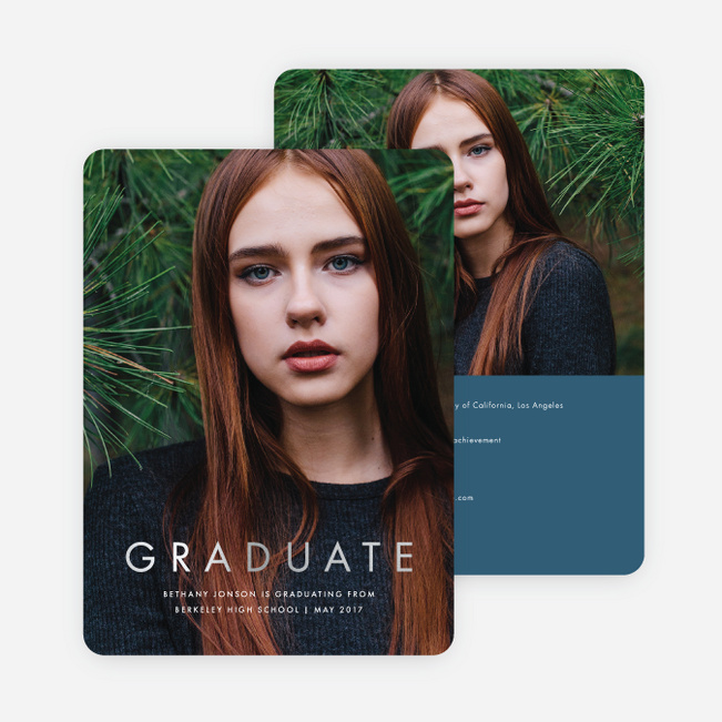 Foil Statement Graduation Invitations - Blue