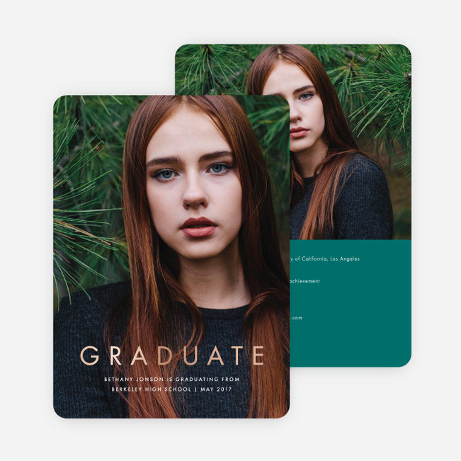 Foil Statement Graduation Invitations - Green
