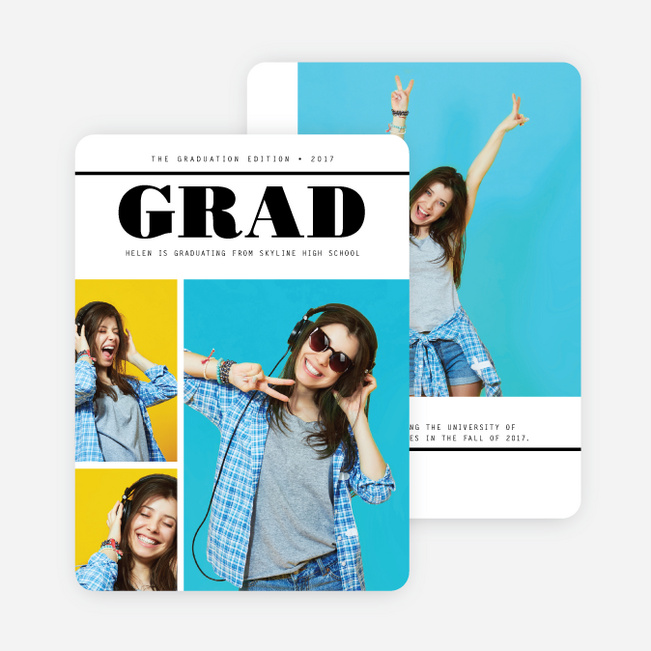 Screaming Headlines Graduation Announcements - Black