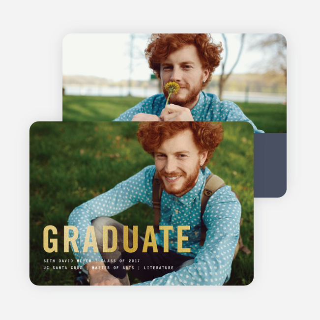 Simply Foil Graduation Announcements - Blue