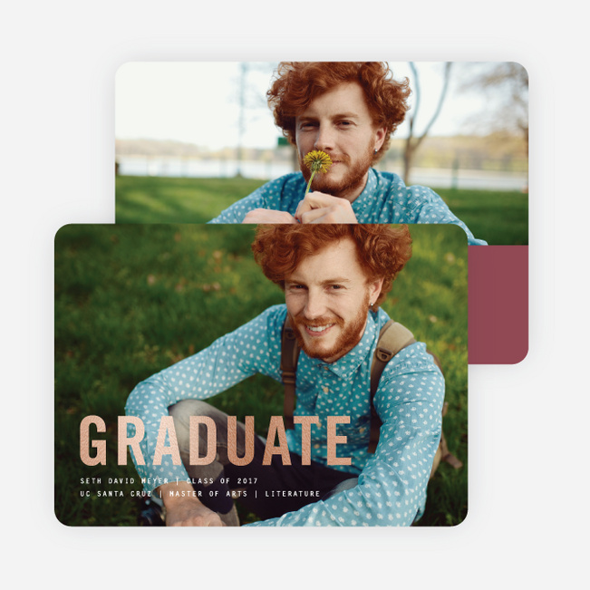 Simply Foil Graduation Announcements - Red