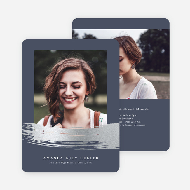 Foil Stroke of Genius Graduation Invitations - Blue