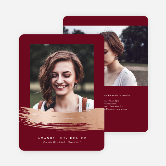 Foil Stroke of Genius Graduation Invitations - Red