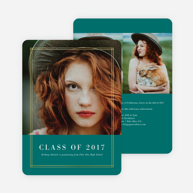 Foil Double Lines Graduation Invitations - Green
