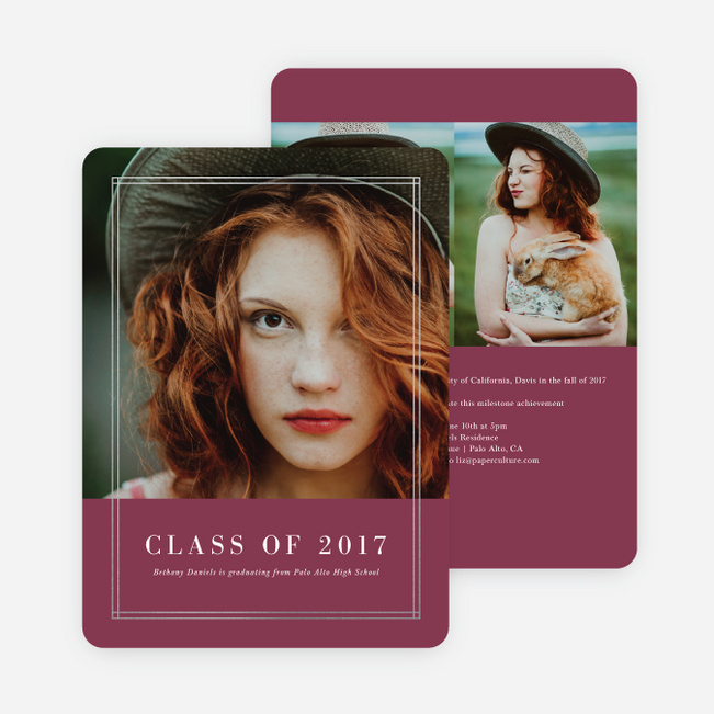 Foil Double Lines Graduation Invitations - Red