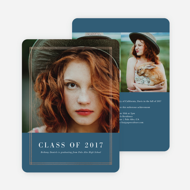 Foil Double Lines Graduation Invitations - Blue