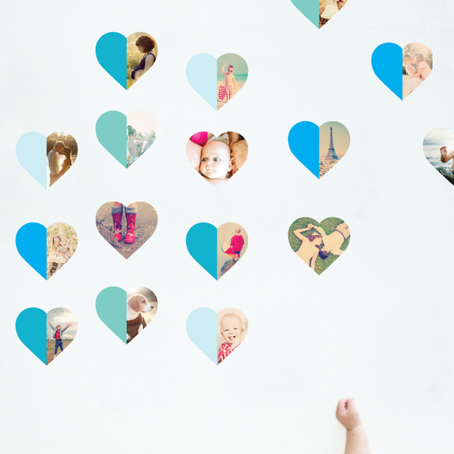 Hearts Abound: 16 Photo Wall Stickers - Blue