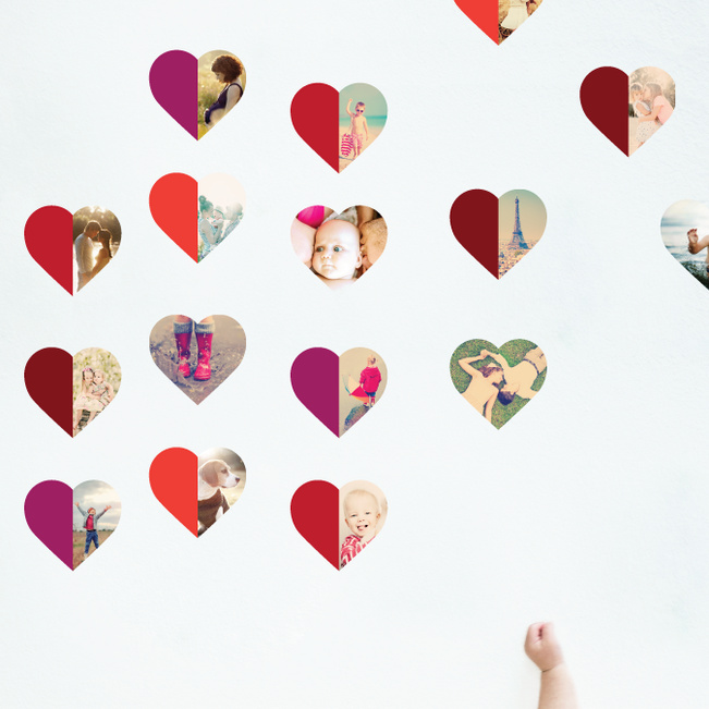 Hearts Abound: 16 Photo Wall Stickers - Red