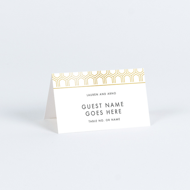 Hexagon Bliss Place Cards - White