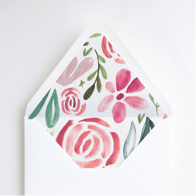 Strokes of Floral Envelope Liners - Pink
