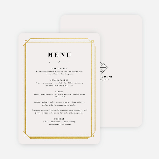 Art deco wedding menus paper culture junglespirit Choice Image