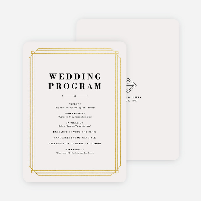 Art Deco Wedding Programs - Beige