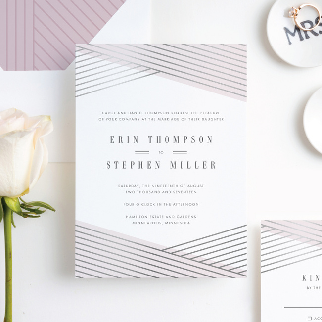 Diagonal Chic Wedding Invitations - Pink