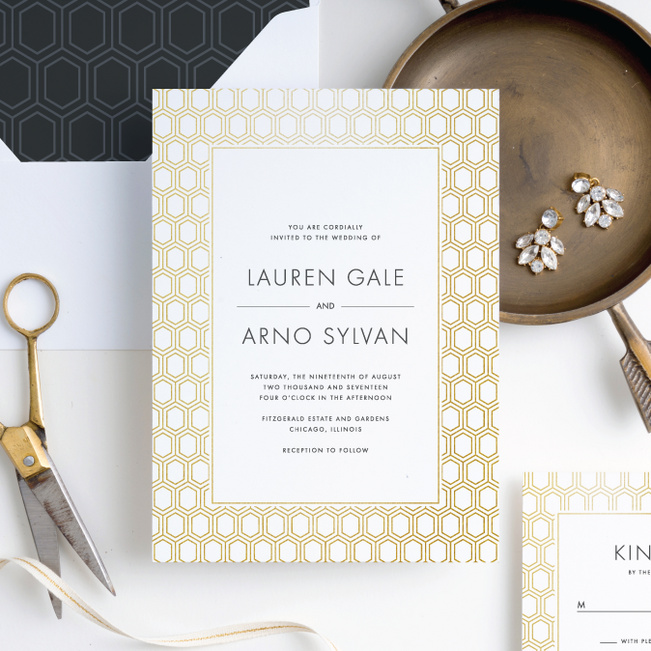 Hexagon Bliss Wedding Invitations - White