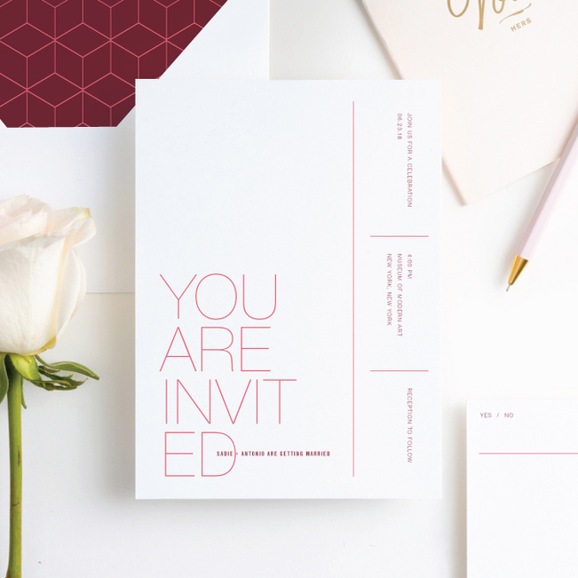 Stacked Type Wedding Invitations - Pink