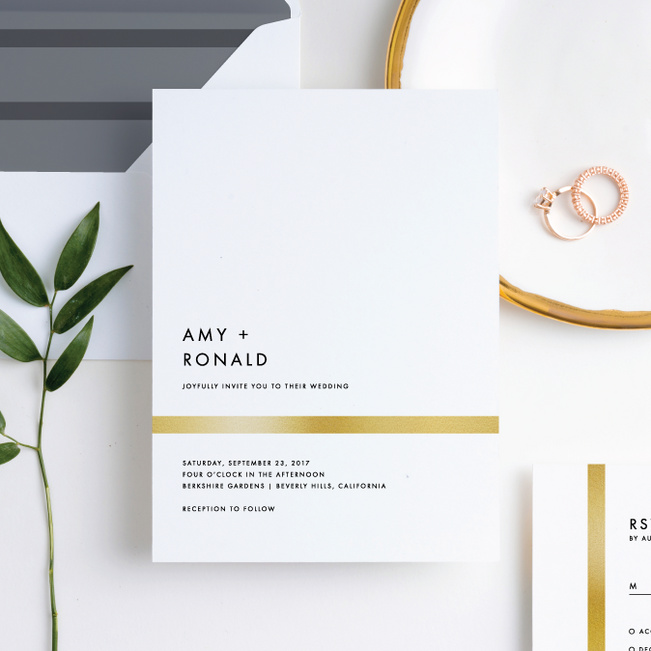 Stripe It Wedding Invitations - White