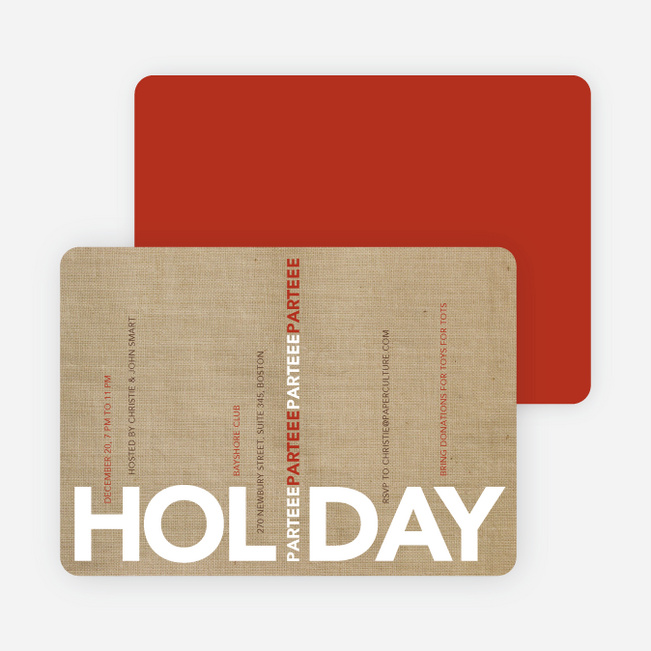 Holiday Parteee Party Invitations - Caf� Au Lait
