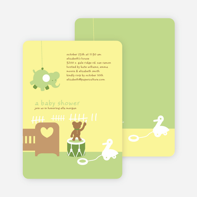 Stuffed Animals Take Over the Nursery Baby Shower Invitations - Keyline